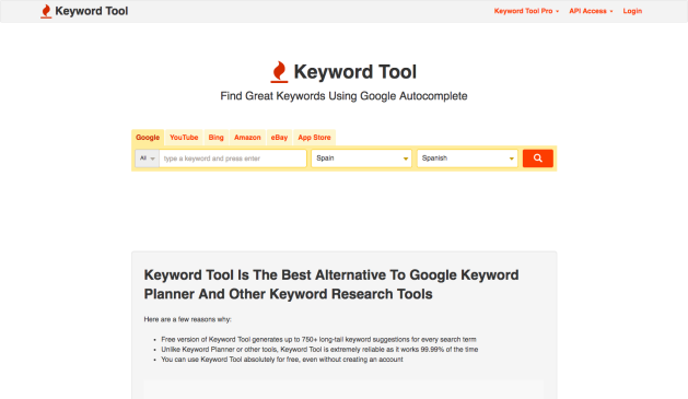 keywods tool estudio de palabras clave