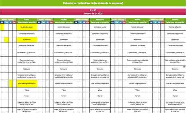 Calendario de publicaciones social media