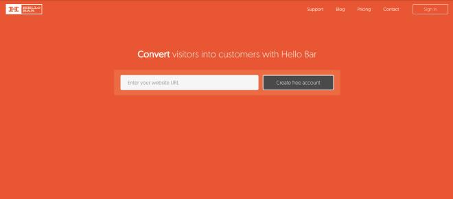 herramientas landing page ejemplo hello bar