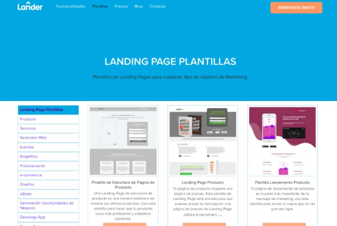 herramientas landing page ejemplo lander