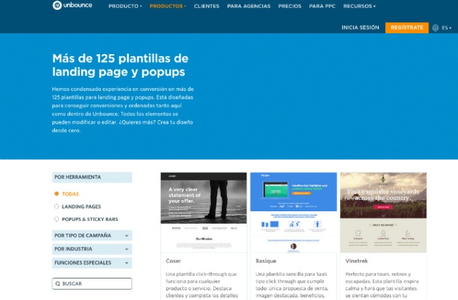 herramientas landing page ejemplo unbounce